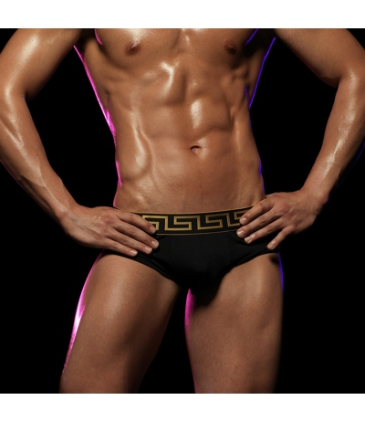 [M2W] Special Edition Grid Swim Brief Gold 三角泳褲 (黑色)(图)